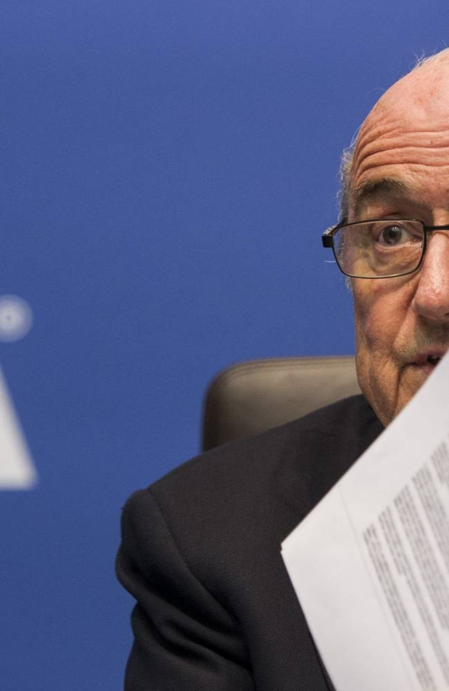 FIFA President Sepp Blatter speaks to journalists following the FIFA Executive Committee meeting in Zurich, Switzerland, Friday, Oct. 4, 2013. Blatter said a final decision on which months to play the 2022 World Cup in Qatar might be delayed until 2015