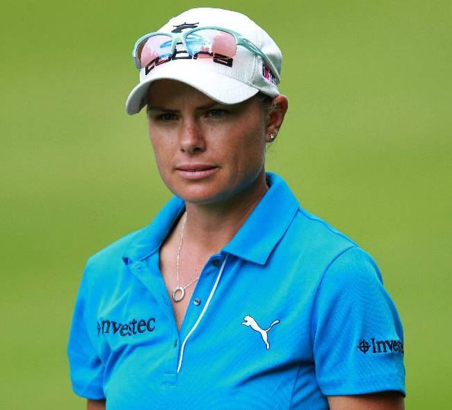 Lee Anne Pace of South Africa is seen on the 15th hole at the women's Open in Saint Jean de Luz, southwestern France, Sunday, Sept. 29, 2013