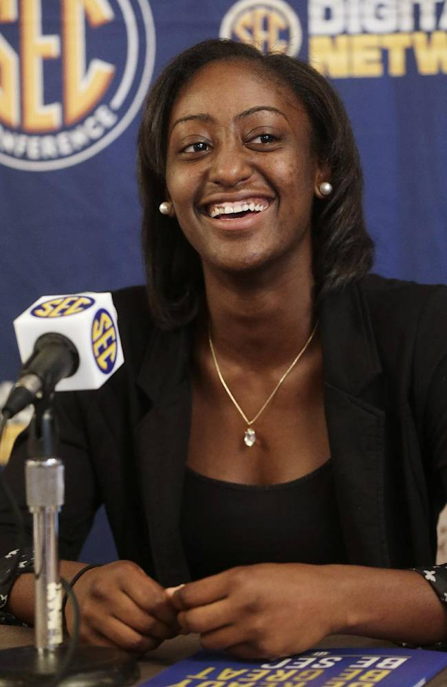 Georgia's Erika Ford talks with reporters during the Southeastern Conference NCAA college basketball media day in Birmingham, Ala., Wednesday, Oct. 16, 2013