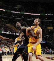 CLEVELAND, OH - JANUARY 5: Roy Hibbert #55 of the Indiana Pacers battles for rebound position against Tyler Zeller #40 of the Cleveland Cavaliers at The Quicken Loans Arena on January 5, 2014 in Cleveland, Ohio. (Photo by David Liam Kyle/NBAE via Getty Images)