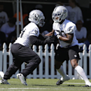 Oakland Raiders running backs Maurice Jones-Drew, left, and Kory Sheets, right, take part in a drill during NFL football training camp Saturday, July 26, 2014, in Napa, Calif The Associated Press