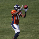 Denver Broncos' Emmanuel Sanders runs a drill during NFL football training camp on Monday, July 28, 2014, in Englewood, Colo The Associated Press