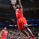 NEWARK, NJ - APRIL 23: Elton Brand #42 of the Philadelphia 76ers dunks against the New Jersey Nets on April 23, 2012 at the Prudential Center in Newark, New Jersey.  (Photo by Jesse D. Garrabrant/NBAE via Getty Images)
