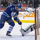 Toronto Maple Leafs' James van Riemsdyk is stopped Dallas Stars goaltender Kari Lehtonen during the second period of an NHL hockey game, Tuesday, Dec. 2, 2014 in Toronto The Associated Press