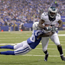 Philadelphia Eagles running back LeSean McCoy (25) is tackled by Indianapolis Colts free safety Darius Butler (20) during the first half of an NFL football game Monday, Sept. 15, 2014, in Indianapolis The Associated Press