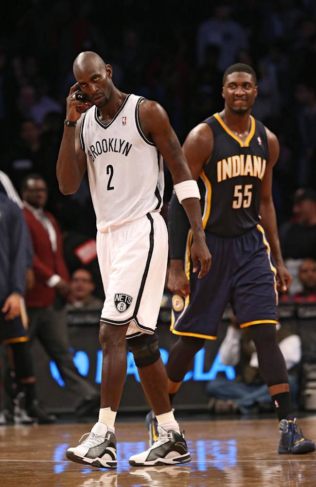 Brooklyn Nets power forward Kevin Garnett (2) reacts after an NBA basketball game against the Indiana Pacers, Saturday, Nov. 9, 2013, at the Barclays Center in New York. The Indiana Pacers defeated the Brooklyn Nets, 96-91