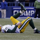 Green Bay Packers' Aaron Rodgers lies on the ground during the second half of the NFL football NFC Championship game against the Seattle Seahawks Sunday, Jan. 18, 2015, in Seattle The Associated Press