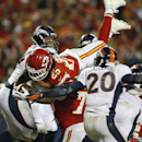 Kansas City Chiefs running back Jamaal Charles (25) dives to the end zone for a touchdown during the second half of an NFL football game against the Denver Broncos, Sunday, Dec. 1, 2013, in Kansas City, Mo The Associated Press