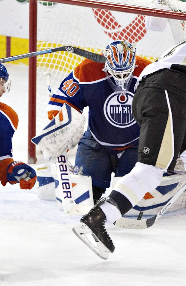 Nugent-Hopkins' OT goal leads Oilers past Pens 4-3