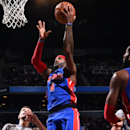 BROOKLYN,NY - DECEMBER 21: Josh Smith #6 of the Detroit Pistons goes up for the layup in traffic against the Brooklyn Nets on December 21, 2014 at the Barclays Center in Brooklyn, NY. (Photo by Jesse D. Garrabrant/NBAE via Getty Images)