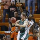 Utah Valley guard Holton Hunsaker (12) passes in front of Oklahoma State guard Marcus Smart (33) in the second half of an NCAA college basketball game in Stillwater, Okla., Tuesday, Nov. 12, 2013. Oklahoma State won 93-40. (AP Photo/Sue Ogrocki)