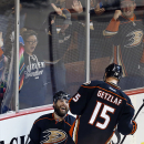Anaheim Ducks' Patrick Maroon, left, celebrates a third-period goal with Ryan Getzlaf during an NHL hockey game game against the New Jersey Devils on Friday, Jan. 16, 2015, in Anaheim, Calif. The Ducks won 5-1 The Associated Press