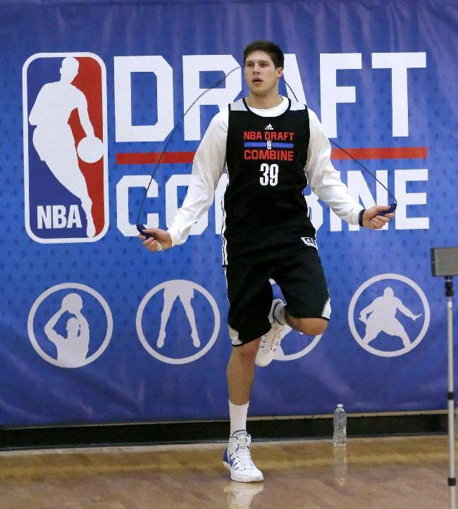 Doug McDermott, from Creighton, skips rope before participating in the 2014 NBA basketball draft combine Friday, May 16, 2014, in Chicago