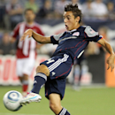 In this Aug. 6, 2011 file photo, New England Revolution midfielder Diego Fagundez scores a goal against Chivas USA during the second half of an MLS soccer match, in Foxborough, Mass The Associated Press