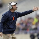 Illinois head coach Tim Beckman reacts to a call during the first half of an NCAA college football game against Northwestern in Evanston, Ill., Saturday, Nov. 24, 2012. (AP Photo/Nam Y. Huh)