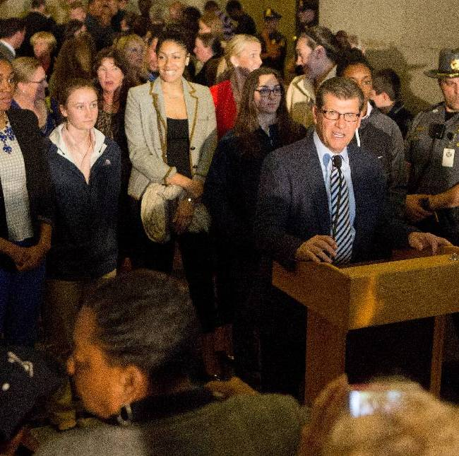 Connecticut's women's NCAA college basketball head coach Geno Auriemma speaks to the fans during Husky Day at the Connecticut Capitol on Wednesday, April 30, 2014, in Hartford, Conn