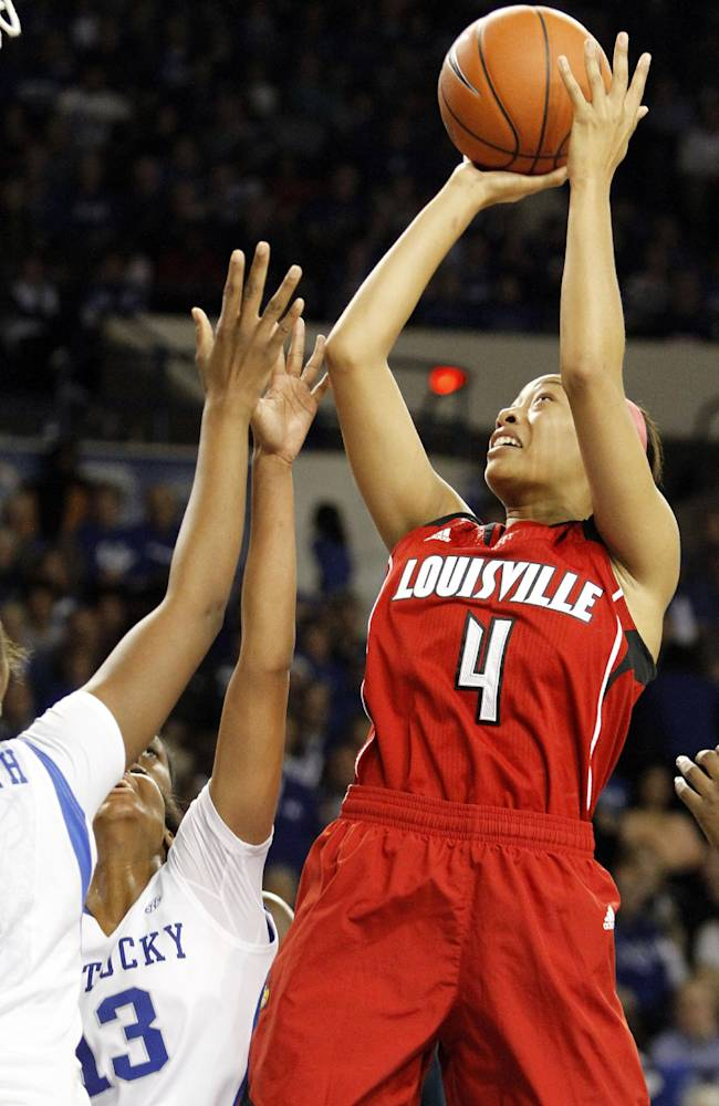 Louisville's Antonita Slaughter (4) shoots under pressure from Kentucky's Bria Goss (13) and DeNesha Stallworth during the second half of an NCAA college basketball game, Sunday, Dec. 1, 2013, in Lexington, Ky. Kentucky won 69-64