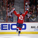 Washington Capitals right wing Joel Ward (42) celebrates his goal in the second period of an NHL hockey game against the Detroit Red Wings, Saturday, Jan. 10, 2015, in Washington The Associated Press