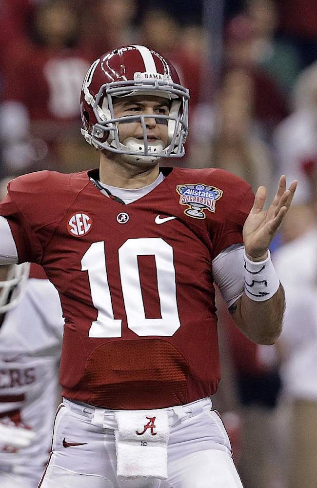 Alabama quarterback AJ McCarron (10) passes during the first half of the Sugar Bowl NCAA college football game against Oklahoma, Thursday, Jan. 2, 2014, in New Orleans