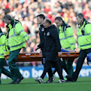 Everton's Gareth Barry is carried off the pitch during their English Premier League soccer match against Sunderland at the Stadium of Light, Sunderland, England, Sunday, Nov. 9, 2014