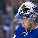 Toronto Maple Leafs goalie James Reimer (34) looks on during stoppage in play against the Winnipeg Jets during first-period NHL hockey game action in Toronto, Saturday, April 5, 2014 The Associated Press