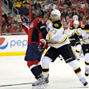 Boston Bruins center Chris Kelly (23) tangles with Washington Capitals right wing Joel Ward (42) during the first period of an NHL hockey game, Saturday, March 29, 2014, in Washington The Associated Press