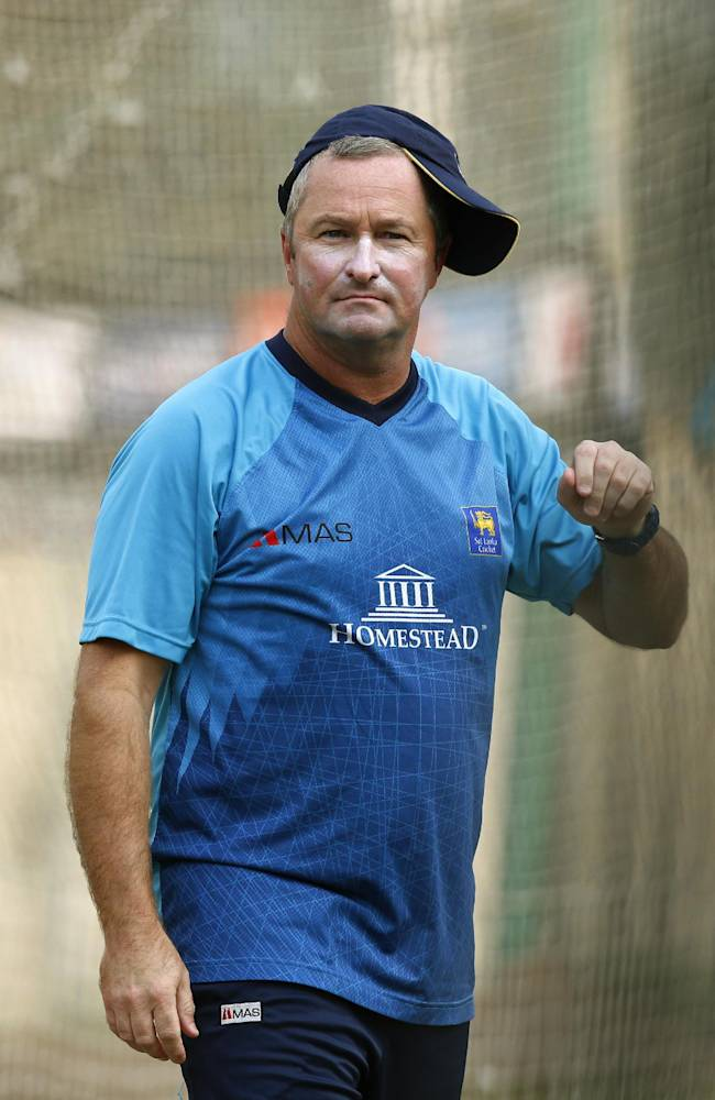 Sri Lanka's cricket team coach Paul Farbrace attends a training session ahead of their ICC Twenty20 Cricket World Cup semi-final match against West Indies in Dhaka, Bangladesh, Wednesday, April 2, 2014