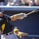 Pittsburgh Pirates catcher Russell Martin hits a 3-run home run off Tampa Bay Rays relief pitcher Grant Balfour in the fourth inning of a exhibition baseball game in Port Charlotte, Fla., Saturday, March 8, 2014 The Associated Press