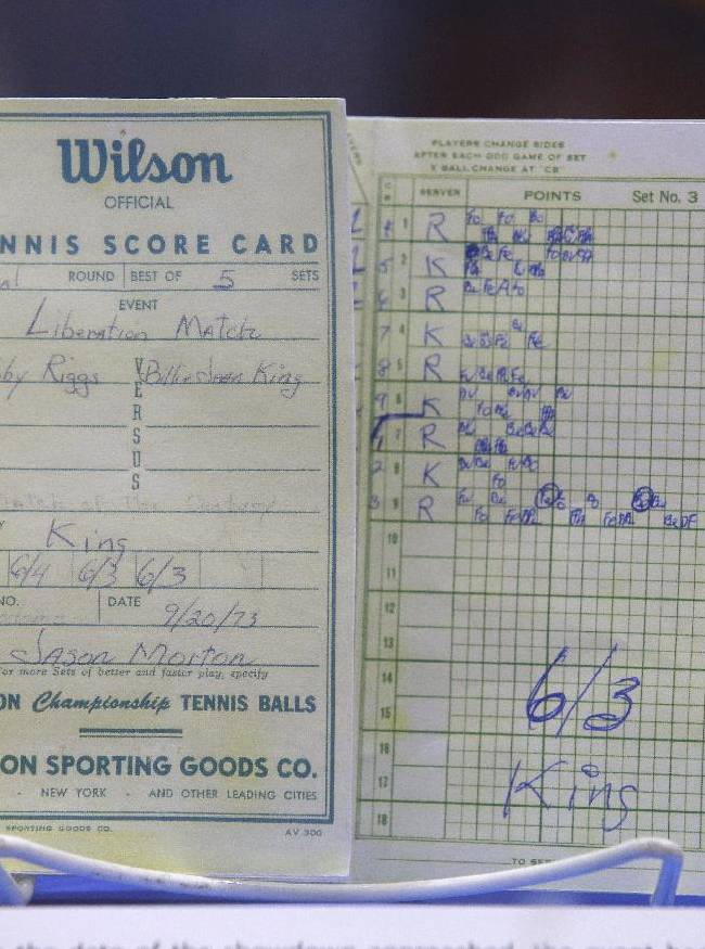 In this photo taken Sept. 5, 2013, the scorecard from the match between Billie Jean King and Bobby Riggs in 1973 is displayed during the U.S. Open tennis tournament in New York. Friday, Sept. 20, 2013, is the 40th anniversary of Kings's straight-set victory over Riggs in front of more than 30,000 fans