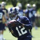 St Louis Ram's Steadman Bailey (12) catches a pass during NFL football practice, Friday, May, 24, 2013, at the team's training facility in St. Louis.  (AP Photo/Bill Boyce)