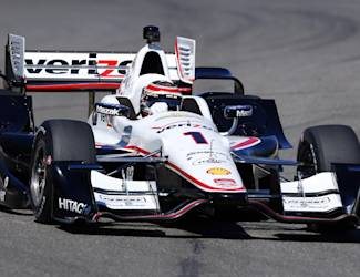Will Power (1), of Australia, heads into a turn during IndyCar testing at Barber Motorsports Park, Monday, March 16, 2015, in Birmingham, Ala. Drivers are testing the new aerodynamic packages on their cars. (AP Photo/Butch Dill)
