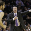 Dallas Mavericks coach Rick Carlisle signals to his players during the first half of Game 2 of the opening-round NBA basketball playoff series against the San Antonio Spurs, Wednesday, April 23, 2014, in San Antonio The Associated Press