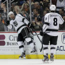 Los Angeles Kings center Jeff Carter, left, celebrates his goal with Drew Doughty during the second period of an NHL hockey game against the Anaheim Ducks in Anaheim, Calif., Tuesday, Dec. 3, 2013. (AP Photo/Chris Carlson)