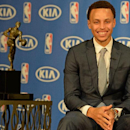 OAKLAND, CA - MAY 04: Stephen Curry #30 of the Golden State Warriors accepts the Maurice Podoloff Trophy during the 2014-15 Kia NBA Most Valuable Player Award ceremony at Oakland Convention Center on May 04, 2015 in Oakland, California. (Photo by Andrew D. Bernstein/NBAE via Getty Images)