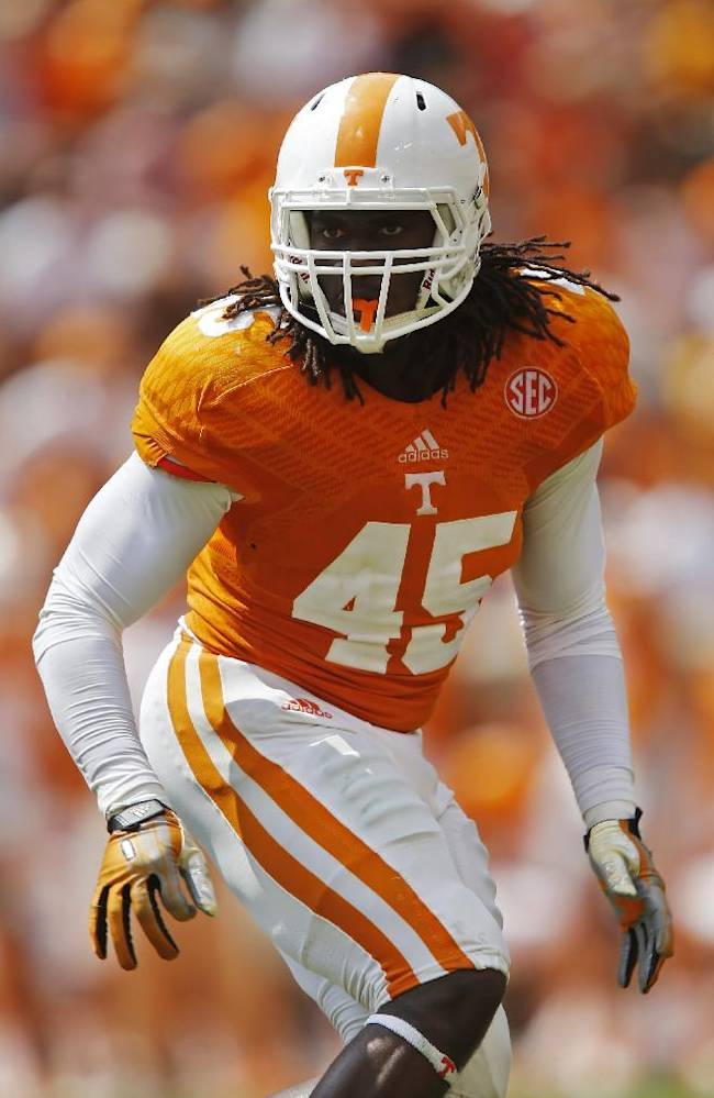 Tennessee linebacker A.J. Johnson (45) in action during an NCAA college football game against Western Kentucky on Saturday, Sept. 7, 2013 in Knoxville, Tenn