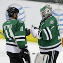 Dallas Stars' Dustin Jeffrey (11) and goalie Kari Lehtonen (32) of Finland celebrate with 7-3 win agains the Nashville Predators in an NHL hockey game, Friday, March 28, 2014, in Dallas The Associated Press