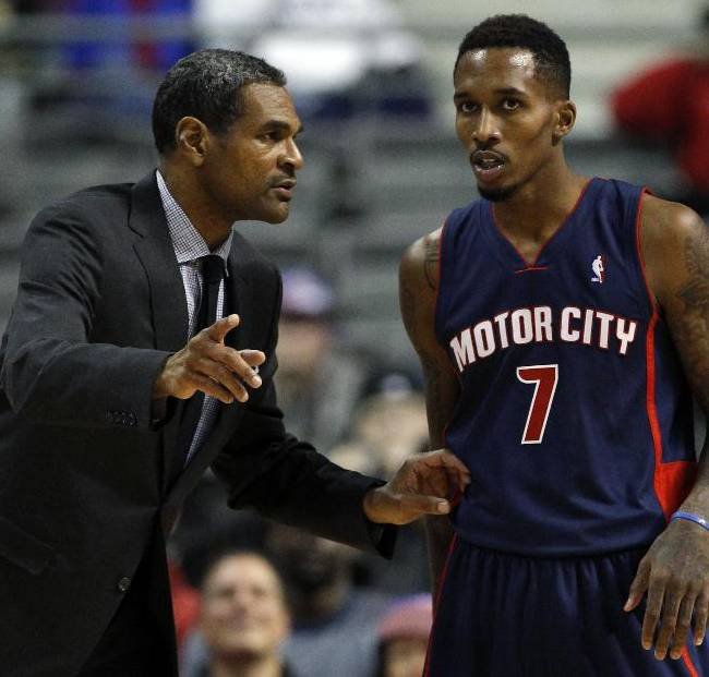 Detroit Pistons coach Maurice Cheeks talks with guard Brandon Jennings (7) during the second half of an NBA basketball game against the Boston Celtics Sunday, Nov. 3, 2013, in Auburn Hills, Mich. Jennings scored 145 points in a 87-77 win over the Celtics