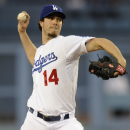 Los Angeles Dodgers starting pitcher Dan Haren pitches during the first inning of a baseball game against the Detroit Tigers in Los Angeles, Tuesday, April 8, 2014 The Associated Press