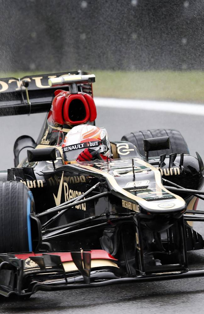 Lotus driver RomainGrosjean of Switzerland, steers his car during the second free practice at the Interlagos race track in Sao Paulo, Brazil, Friday, Nov. 22, 2013. The Brazilian Formula One Grand Prix will take place on Sunday
