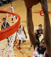 HOUSTON, TX - DECEMBER 28: James Harden #13 of the Houston Rockets goes up for the dunk against the New Orleans Pelicans on December 28, 2013 at the Toyota Center in Houston, Texas. (Photo by Layne Murdoch/NBAE via Getty Images)