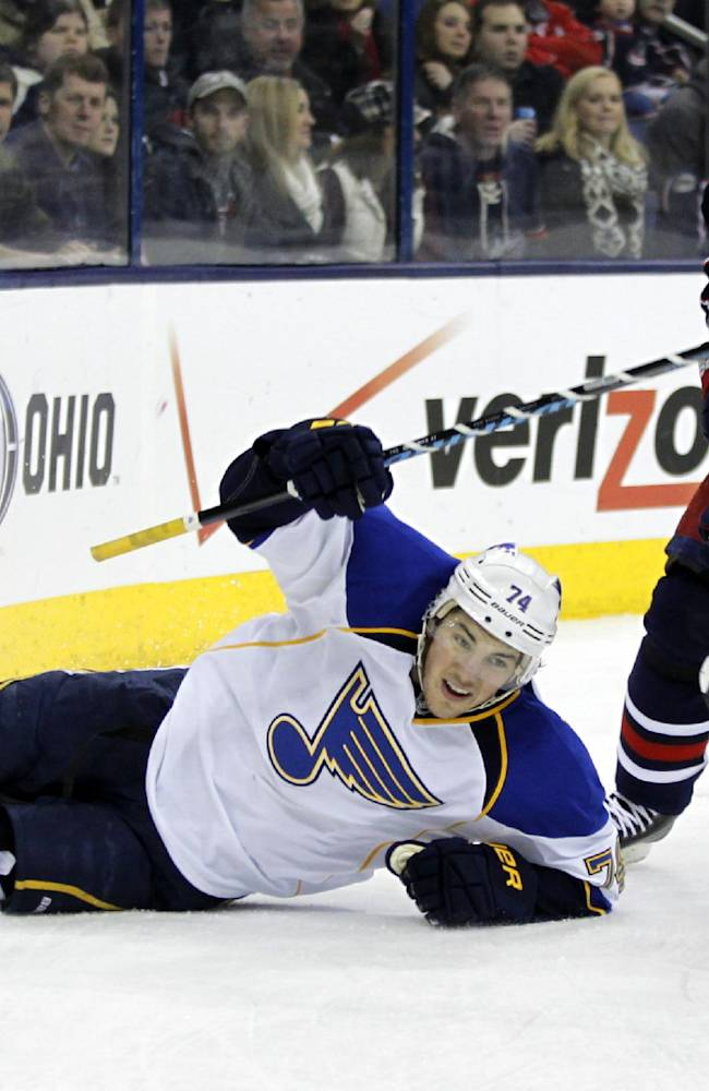 St. Louis Blues' T.J, Oshie, left, and Columbus Blue Jackets' Fedor Tyutin, of Russia, chase the puck in the first period of an NHL hockey game in Columbus, Ohio, Saturday, Dec. 14, 2013