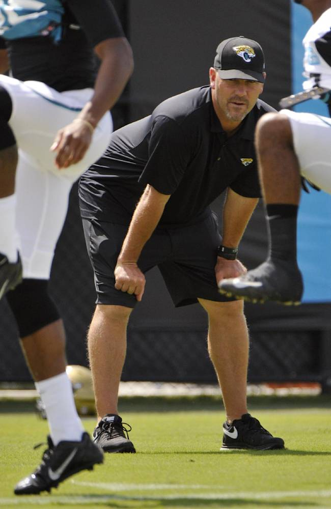 Jacksonville Jaguars head coach Gus Bradley watches warm-up drills during NFL football practice, Wednesday, Oct. 2, 2013, in Jacksonville, Fla