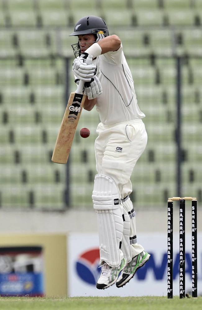 New Zealand's Ross Taylor bats on the third day of the second cricket test match against Bangladesh in Dhaka, Bangladesh, Wednesday, Oct. 23, 2013