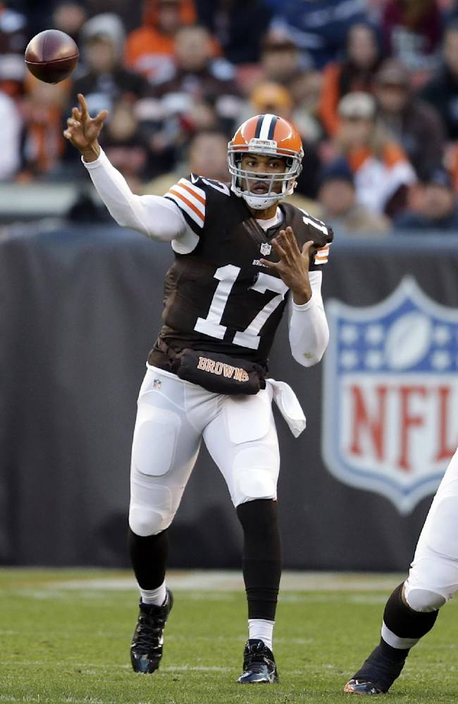 In this Nov. 3, 2013, file photo, Cleveland Browns quarterback Jason Campbell throws a pass against the Baltimore Ravens in the first quarter of an NFL football game in Cleveland. With two impressive starts, he's got the Browns on the precipice of a playoff push and Campbell is relishing every minute