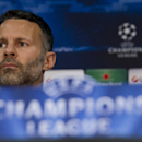 Manchester United's Ryan Giggs listens to a question during a press conference at Old Trafford Stadium, Manchester, England, Monday, March 31, 2014. Manchester United will play Bayern Munich in a Champions League quarter final first leg soccer match on Tu
