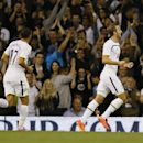 Tottenham's Harry Kane, right, celebrates scoring a goal during the second leg Europa League qualifying soccer match between Tottenham Hotspur and AEL Limassol at White Hart Lane stadium in London Thursday, Aug. 28, 2014