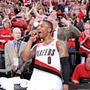 Damian Lillard #0 of the Portland Trail Blazers after the game against the Houston Rockets in Game Six of the Western Conference Quarterfinals during the 2014 NBA Playoffs on May 2, 2014 at the Moda Center in Portland, Oregon. (Photo by Sam Forencich/NBAE via Getty Images)
