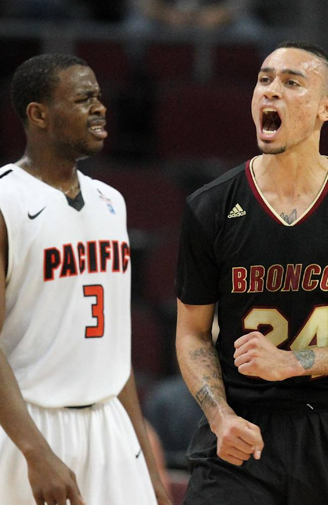 Santa Clara's Evan Roquemore, right, and Pacific's Sama Taku react to a call during the second half of a West Coast Conference tournament NCAA college basketball game on Thursday, March 6, 2014, in Las Vegas. Santa Clara defeated Pacific 81-64