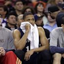New Orleans Pelicans guard Eric Gordon sits on the bench after fouling out in the closing moments of the Pelicans' 96-89 loss to the Sacramento Kings in an NBA basketball game in Sacramento, Calif The Associated Press
