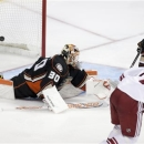 Phoenix Coyotes right wing Radim Vrbata, right, scores past Anaheim Ducks goalie Viktor Fasth during the third period of an N